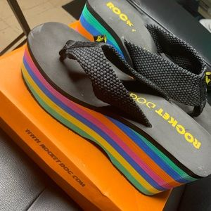 Rocket Dog Shoes - Rainbow Platform Flip Flops